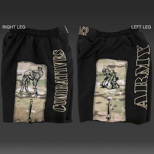 Army Combatives Panel Fight Shorts MultiCam - MACP Front