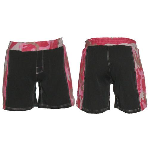 Black Female MMA Shorts with Pink Camo Belt