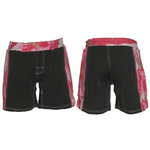 Black Female MMA Shorts with Pink Camo Belt