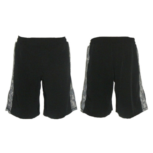 Black MMA Fight Shorts with ACU Stripe