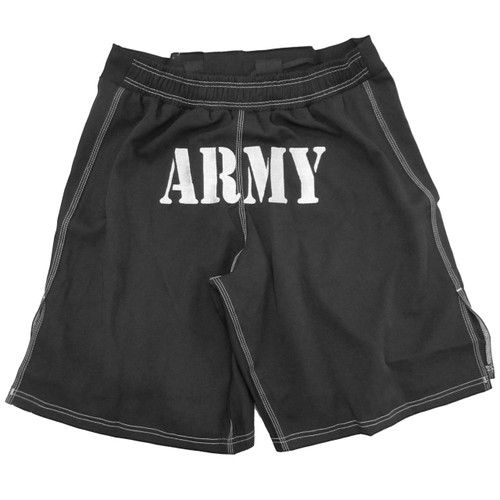 MACP Fight Shorts Black and Silver - Army on Seat - MACP on Belt and Leg