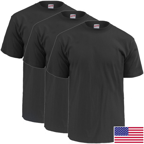 Military Black T-Shirt, 100 Percent Cotton Poly 3-Pack