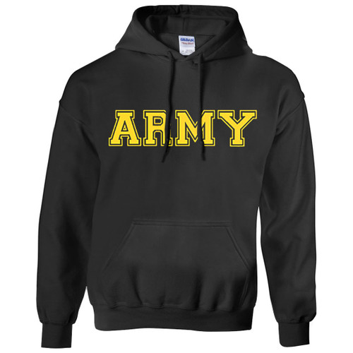 Army Hoodie Black wth Gold Print - Army