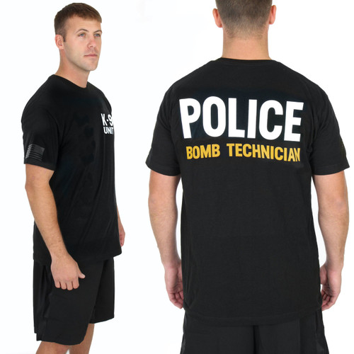 Police Bomb Technician Gold - K9 Chest - on Black 100% Cotton Tee