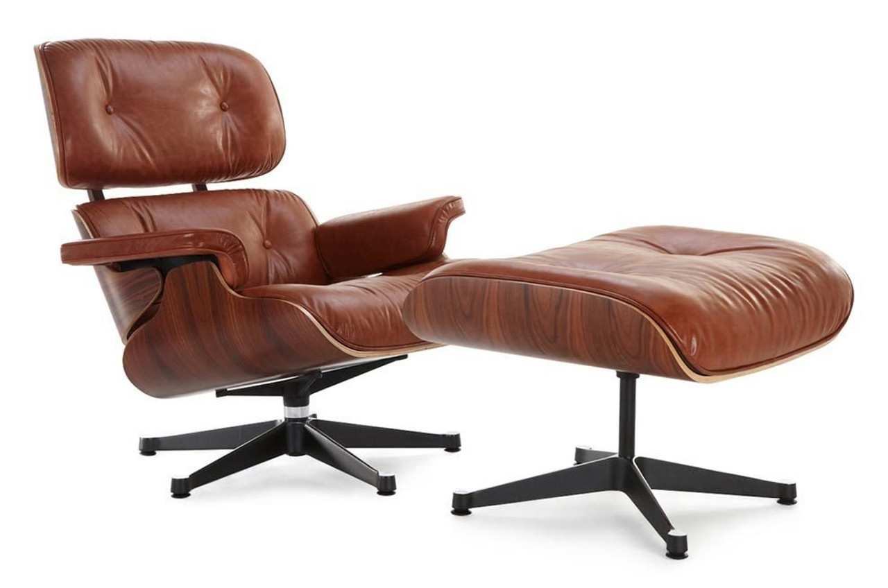 Classic Lounge Chair & Ottoman - Antique Brown - Eames Lounge Chair Replica, Antique Brown Manhattan Home Design