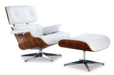 Classic Lounge Chair & Ottoman - White