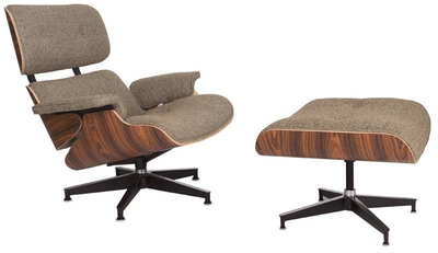 Classic Lounge Chair & Ottoman - Oatmeal Wool