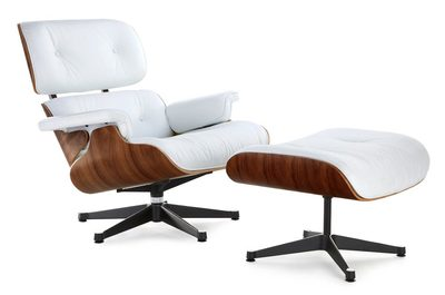 Classic Lounge Chair & Ottoman - White with Black Base