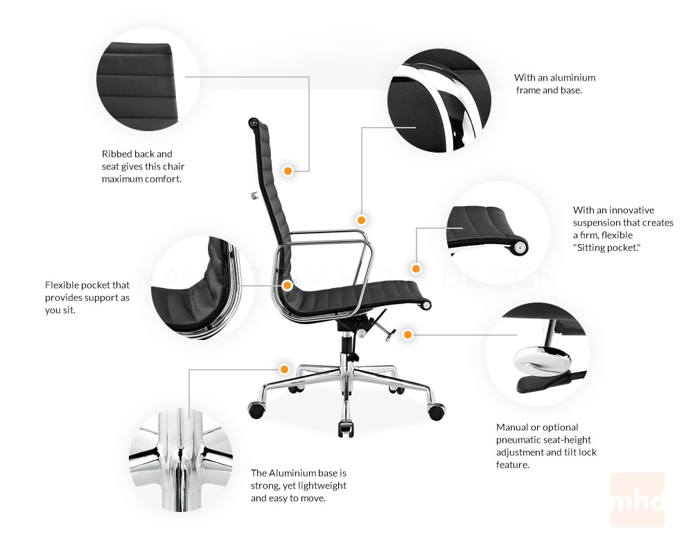 Eames Office Chair Replica | Ribbed Management Chair. Features  sc 1 st  Manhattan Home Design & Eames Executive Chair - Eames Office Chair