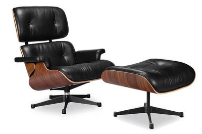 Classic Lounge Chair & Ottoman - Black