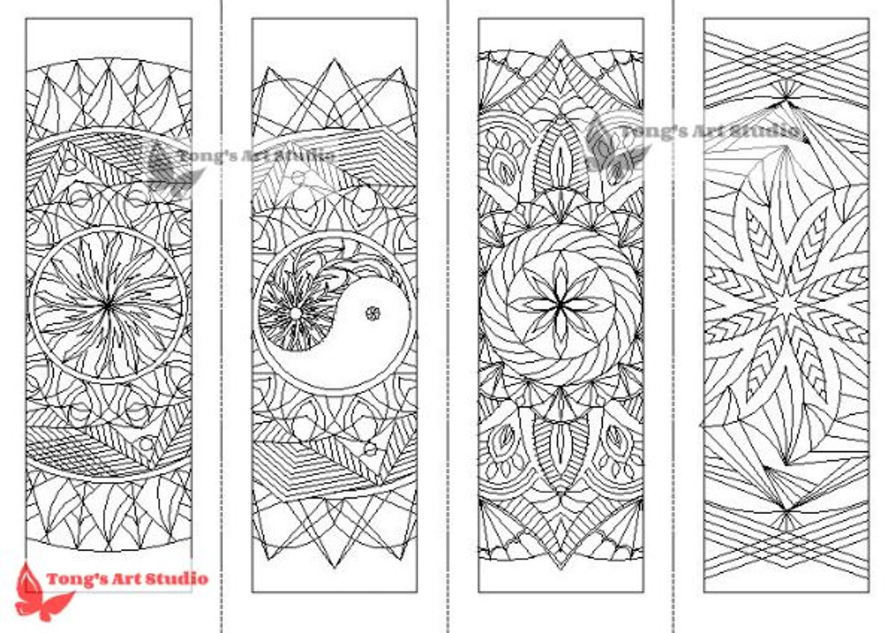 4 Printable Mandala Coloring Bookmarks-1 - Tong's Art Studio
