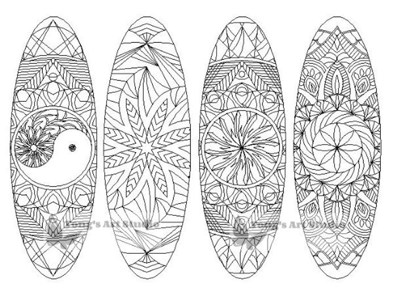 4 Printable Mandala Coloring Bookmarks-1-Oval