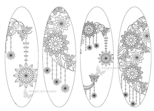 4 Printable Mandala Coloring Bookmarks-20-Moon-Oval