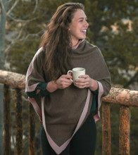 Cappuccino/Rose Jersey Knit Yak Poncho with Cashmere Border