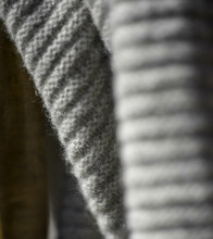 Solid Platinum Ribbed Knit Yak Down Throw