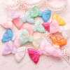 Large Mermaid Pastel Kei Glitter Bow Resin Cabochon 37mm - 6 pieces