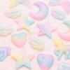 Glittery Rainbow Gradient Heart Cabochon - 6 pieces