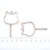 Cat Wand Open Bezel Gold Charm - 3 pieces