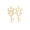 Crown Diamond Key Open Bezel Gold Charm - 3 pcs