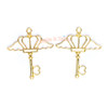 Crown Diamond Wing Key Open Bezel Gold Charm - 3 pcs