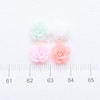 Neon Pastel Rose Flower Flat Back Resin Cabochon - 14 pieces