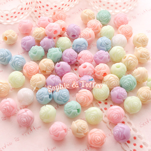 Craved Flower Beads or Rose Beads - 50 grams