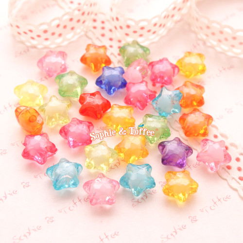 Translucent Candy Star Beads (12mm) - 50 grams