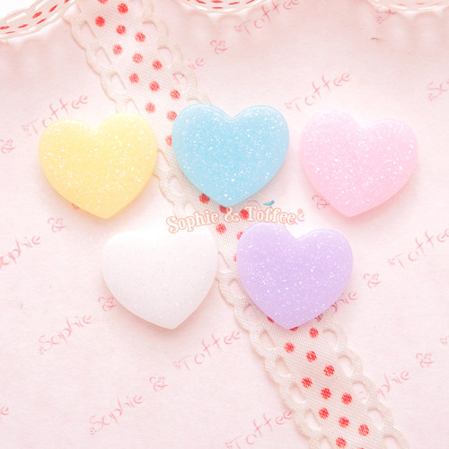 Glittery Pastel Heart Cabochon - 15 pieces
