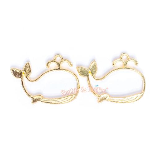 Whale Open Bezel Gold Charm - 3 pcs