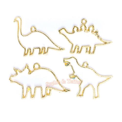 Dinosaur Open Back Bezel Gold Charm - 4 pcs