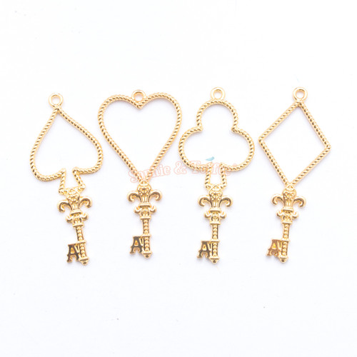 Poker Keys Open Bezel Metal Charm - 4 pieces