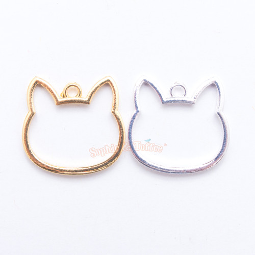 Pre-Order: Cat Kitty Open Bezel Metal Charm - 4 pieces