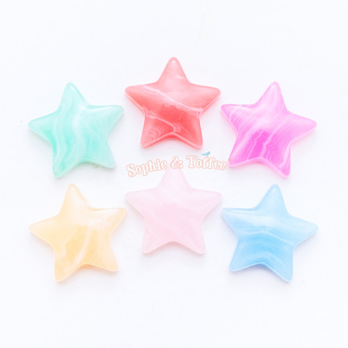 Marbled Star Flat Back Cabochon - 12 pieces