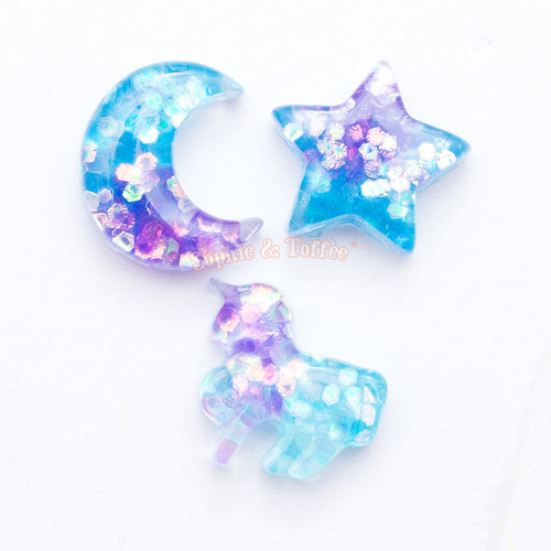 Galaxy Design Resin Cabochon in Glitter - 12 pieces