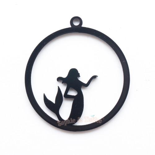 Mermaid Black Bezel Acrylic Charm - 2 pieces
