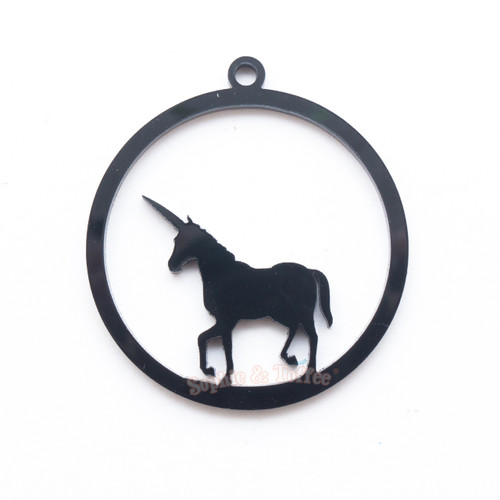Unicorn Black Bezel Acrylic Charm - 2 pieces