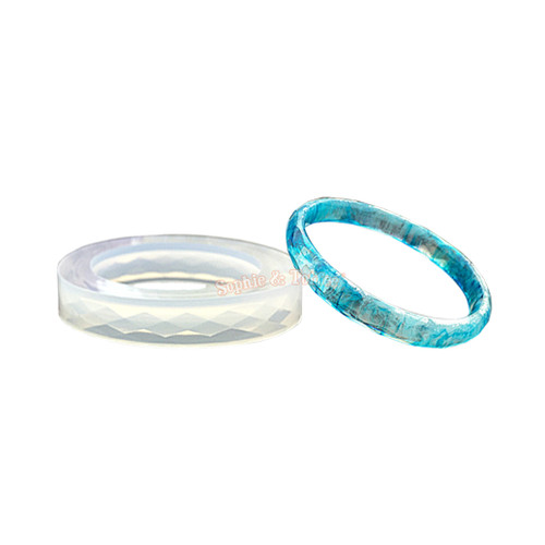 Faceted Bangle Bracelet Silicone Mold (Thin)