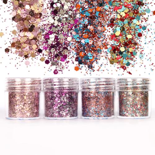 Christmas Magenta Colours Glitter Set (4 pieces)