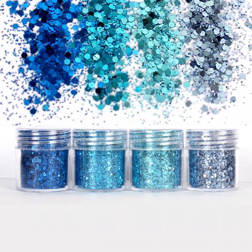 Sky Blue Shade Colours Iridescent Glitter Set (4 pieces)