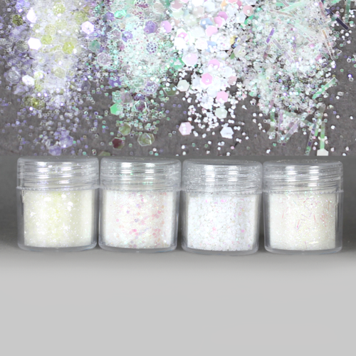 Iridescent White Colours Hexagon Glitter Set (4 pieces)