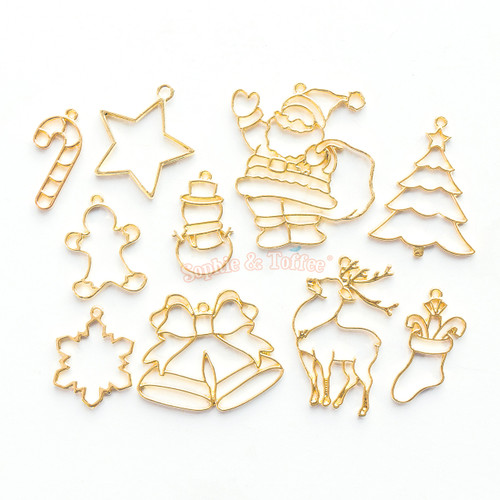 Christmas Theme Gold Open Bezel Charms (10 pieces)