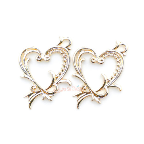 Heart Frame Star Open Bezel Charms | Ornate Heart Open Backed Bezel ...
