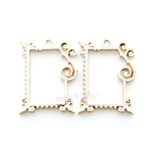 Fancy Rectangle Frame Open Bezel Charms (4 pieces)