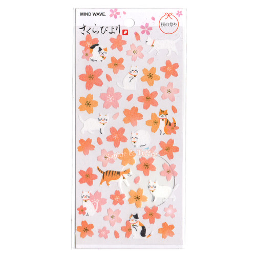 Sakura & Fortune Cat Stickers with Gold Foil