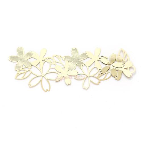 Cherry Blossom Flower Metal Gold Foil Bookmark (2 pieces)