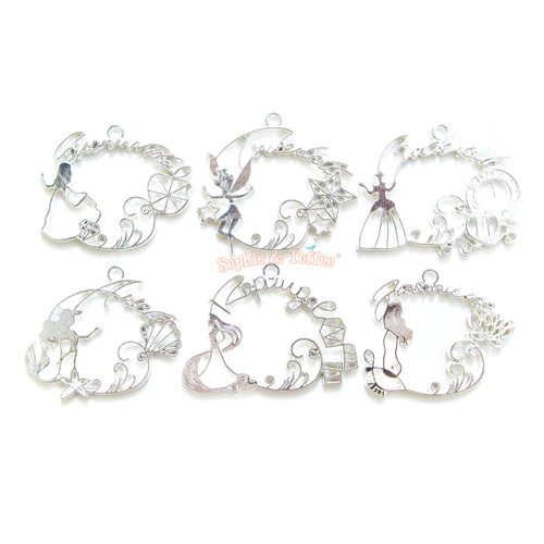 Fairytale Theme Open Bezel Silver Set (6 pieces)