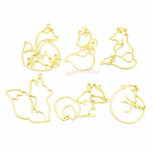 Fox Animal Theme Open Bezel Gold Set (6 pieces)