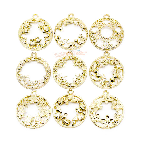 Assorted Circle Frame Theme Open Bezel Gold Set (9 pieces)