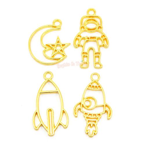 Astronaut Space Theme Open Bezel Charms (4 pieces)