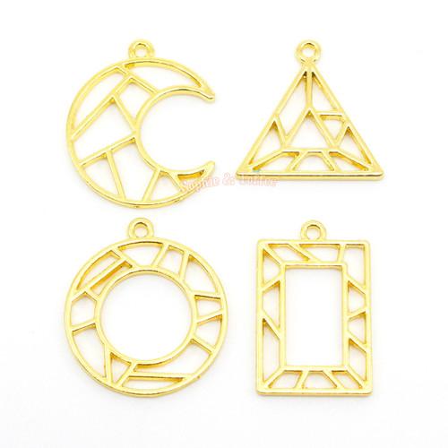 Geometric Shapes Theme Open Bezel Charms (4 pieces)